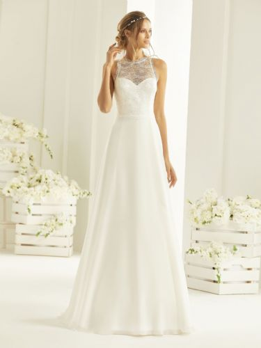 Ellie A-line wedding dress with illusion sweetheart neckline